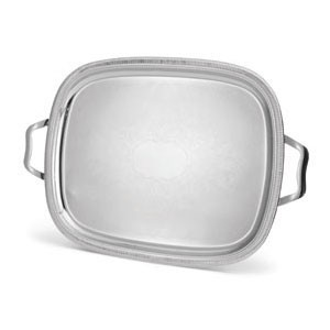 Vollrath 82372 Elegant Reflections Oval Silver Plated  Stainless Steel  Serving Tray 17-7/8