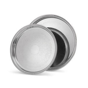 Vollrath 82375 Elegant Reflections Round Silver Plated  Stainless Steel Catering Tray 15-1/4