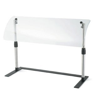 """Vollrath MB98721 Mobile Steel Sneeze Guard with Curved Acrylic Breath Guard 48"""""""