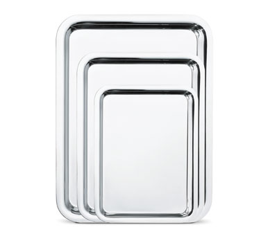 "Walco O-U665 22"" x 17"" Soprano Hotel Tray With Mirror FInish - 3 pcs"