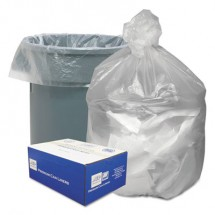 """Waste Can Liners, 60 gal, 12 microns, 38"""" x 58"""", Natural, 200/Carton"""