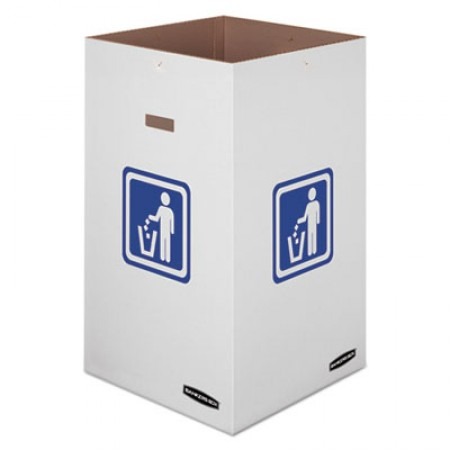 Waste and Recycling Bin, 42 gal, White, 10/Carton