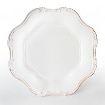 The Jay Companies A275WG White Baroque Polypropylene Charger Plate 13""