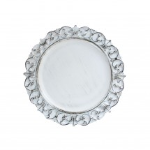 The Jay Companies 1270282 Round White Embossed Antique Charger Plate 13""