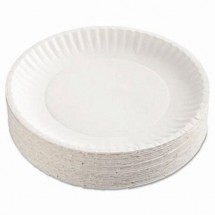 """Uncoated White Paper Plates, 9"""", 1200/Carton"""