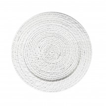The Jay Companies 1660151 Round White Rattan Charger Plate 13""