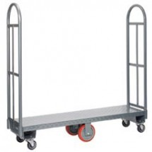 "Win-Holt 300-60D/PU 16"" x 63"" U-Boat Heavy Duty Utility Cart with Diamond Steel Deck"
