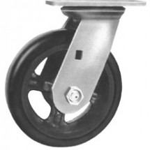 "Win-Holt 7324 HD Swivel Plate Caster with 6"" Mold on Rubber Wheel"