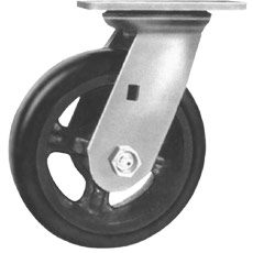 Win-Holt 7324 HD Swivel Plate Caster with Mold On Rubber Wheel 6""