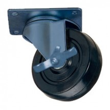 "Win-Holt 738ABK Swivel Plate Caster with 5"" Polyurethane Wheel and Brake"