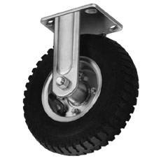 Win-Holt 7411 Rigid Plate Caster with Mold-on Rubber Wheel 8""