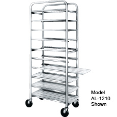 Win-Holt AL-1010 10-Tray Aluminum End Load Mobile Platter Cart