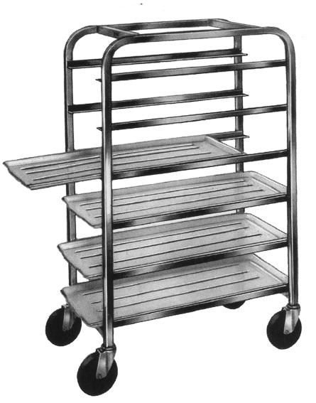 Win-Holt AL-106 6-Tray Half Height End Load Aluminum Platter Cart