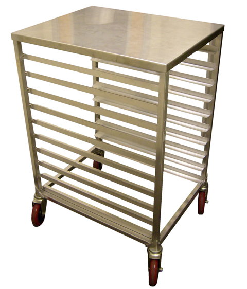 Win-Holt AL-1810H/SSTOP 10-Pan Half Size Aluminum Sheet Pan Rack with Stainless Steel Top