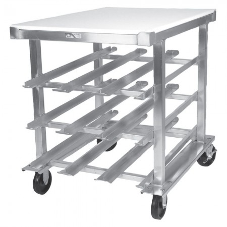 Win-Holt CR-54PT Mobile Half-Size Can Dispensing Rack with Poly Top
