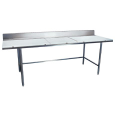 "Win-Holt DPTB-3696 96"" x 36"" Stainless Steel Work Table with Polyethylene Top"