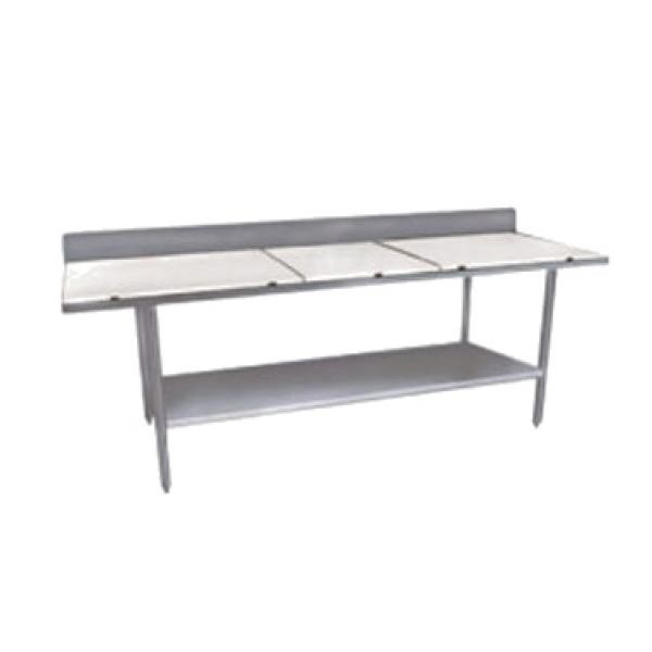 "Win-Holt DPTSB-2448 Stainless Steel Work Table with Polyethylene Top, Under Shelf and Backsplash 48"" x 24"""