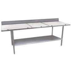 "Win-Holt DPTSB-2484 Stainless Steel Work Table with Polyethylene Top Undershelf and Backsplash 84"" x 24"""