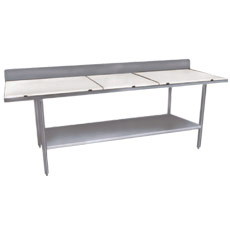 "Win-Holt DPTSB-3696 96"" x 36"" Stainless Steel Work Table with Poly Top, Undershelf and Backsplash"