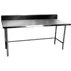 "Win-Holt DTB-3060 60"" x 30"" Stainless Steel Work Table with Backsplash"