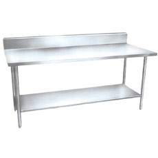 "Win-Holt DTSB-3048 Stainless Steel Work Table with Undershelf and Backsplash 48"" x 30"""