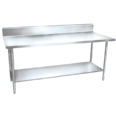 "Win-Holt DTSB-3084 84"" x 30"" Stainless Steel Work Table with Under Shelf and Backsplash"