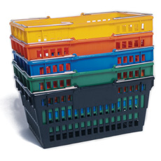 "Win-Holt LSB-1GR Green Plastic Grocery Market Shopping Basket 19"" x 13"""