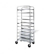 "Win-Holt SS-1010 10-Tray Stainless Steel Platter Cart for 10"" Trays"