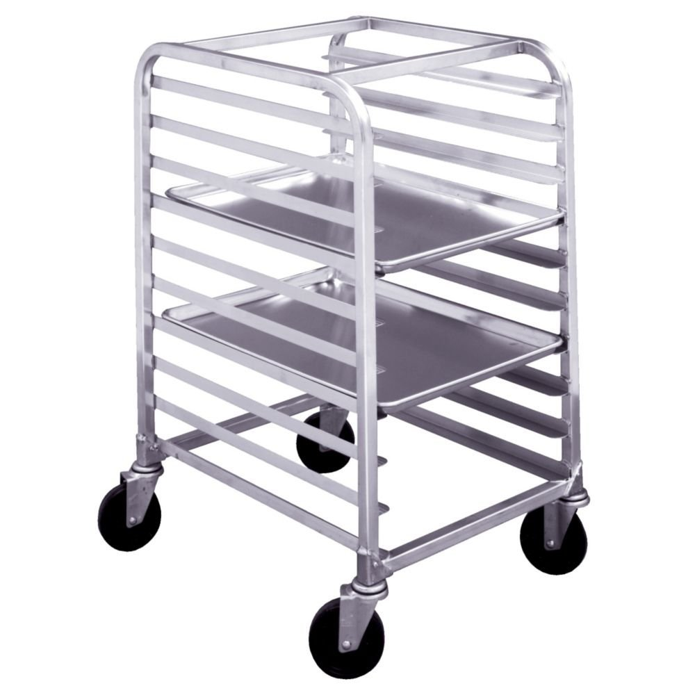 "Win-Holt SS-106 6-Tray Stainless Steel Platter Cart for 10"" Trays"