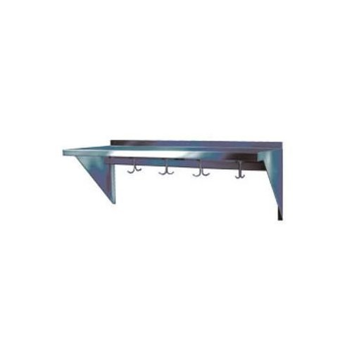 "Win-Holt SSWMSH104 Stainless Steel Fabricated Wall Mounted Shelf With Hooks 10"" x 48"""