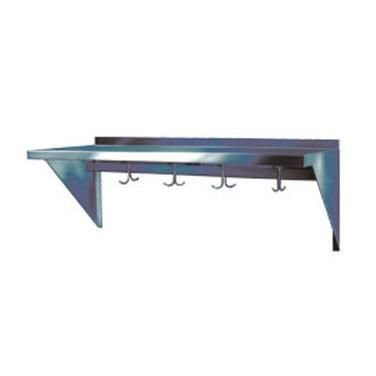 "Win-Holt SSWMSH105 Stainless Steel Fabricated Wall Mounted Shelf With Hooks 10"" x 60"""