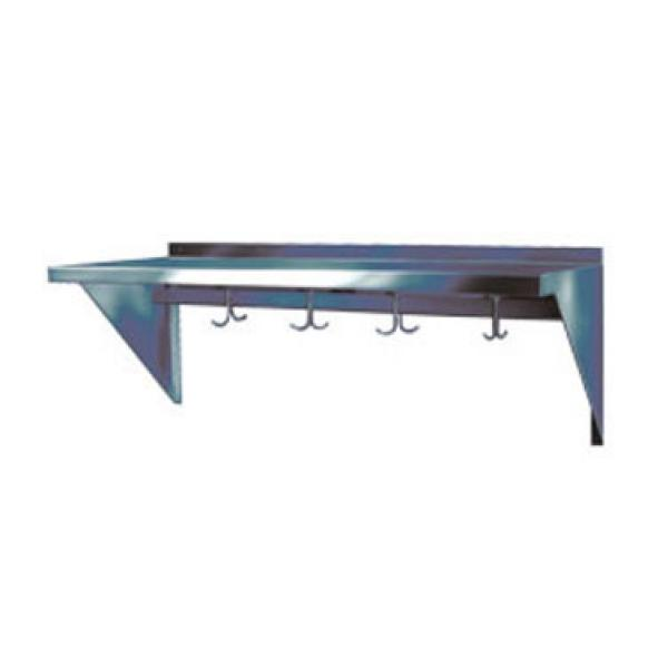 "Win-Holt SSWMSH108 Stainless Steel Fabricated Wall Mounted Shelf With Hooks 10"" x 96"""