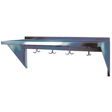 "Win-Holt SSWMSH1210 Stainless Steel Fabricated Wall Mounted Shelf With Hooks 12"" x 120"""