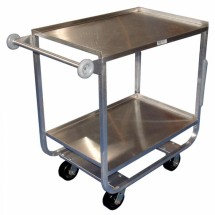 "Win-Holt UC-2-2133SS Heavy Duty Two-Shelf Stainless Steel Utility Cart 21"" x 33"""