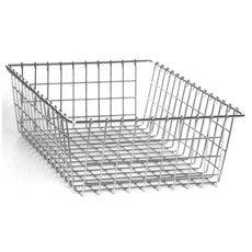 Win-Holt WBB1319 Nickel Chrome Wire Rectangular Bread / Bagel Basket
