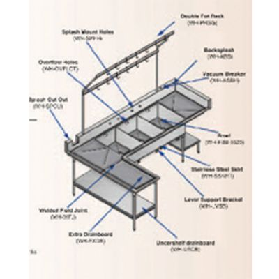 Win-Holt WH-HFLEG Win-Fab Sink Modification H-Frame Support Leg