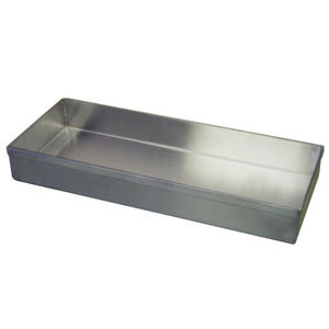 "Win-Holt WHSSBX-615/2H / 4DH Stainless Steel Display Tray with Drain Holes, 6"" x 15"" x 2"""