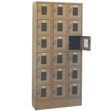 "Win-Holt WL-618/15 Triple Column Eighteen Door Locker with Perforated Doors 36"" x 15"""