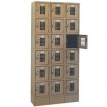 "Win-Holt WL-618 Triple Column Eighteen Door Locker With Perforated Doors 36"" x 12"""