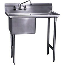 """Win-Holt WS1T1618LD18-14DP-14GA Win-Fab One Compartment Sink with Left-Hand Drainboard 36-1/2"""" x 23-1/2"""""""