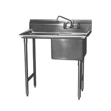 "Win-Holt WS1T1618LD18 Win-Fab One Compartment Sink with Left-Hand Drainboard 36-1/2"" x 23-1/2"" ;"