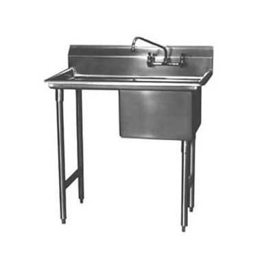 "Win-Holt WS1T1618LD18 Win-Fab Sink, One Compartment with One Drainboard, 18"" x 16"""