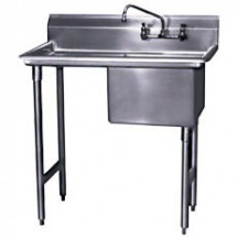 "Win-Holt WS1T1618LD24 Win-Fab Sink, One Compartment with One Drainboard, 18"" X 16"""