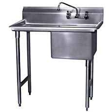 "Win-Holt WS1T1618LD24 Win-Fab One Compartment Sink with Left-Hand Drainboard 42-1/2"" x 23-1/2"""
