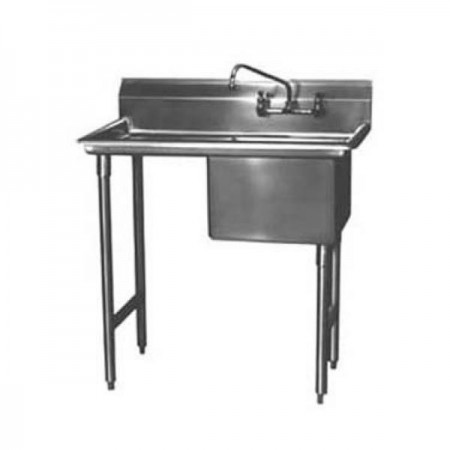 """Win-Holt WS1T1620LD24 Win-Fab One Compartment Sink with Left-Hand Drainboard 42-1/2"""" x 16"""""""