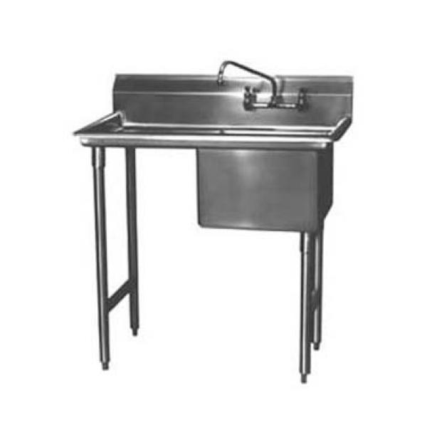 "Win-Holt WS1T1620LD24 Win-Fab One Compartment Sink with Left-Hand Drainboard 42-1/2"" x 16"""