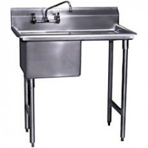 "Win-Holt WS1T1818LD18 Win-Fab Sink, One Compartment with Left-Hand Drainboard, 18"" x 18"""