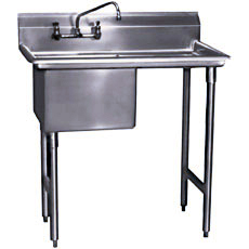 "Win-Holt WS1T1818LD18 Win-Fab One Compartment Sink with Left-Hand Drainboard 38-1/2"" x 23-1/2"""