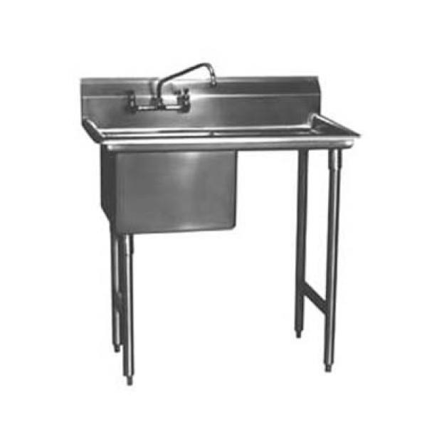 "Win-Holt WS1T1818RD24 Win-Fab Sink, One Compartment with Right-Hand Drainboard, 18"" x 18"""