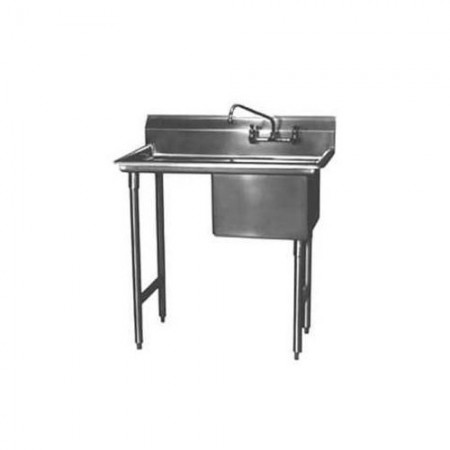 "Win-Holt WS1T1824LD24 Win-Fab One Compartment Sink with Left-Hand Drainboard 44-1/2"" x 29-1/2"""